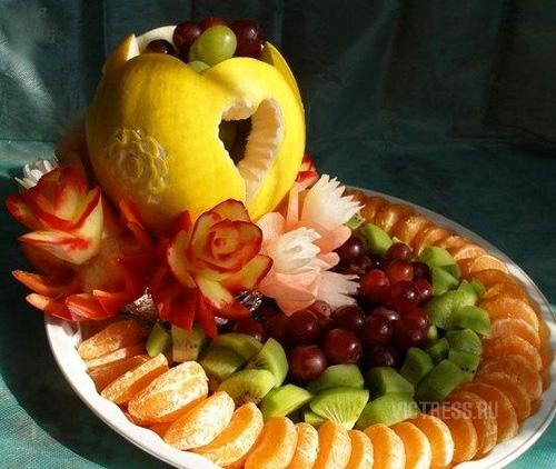 фруктовая нарезка на тарелке