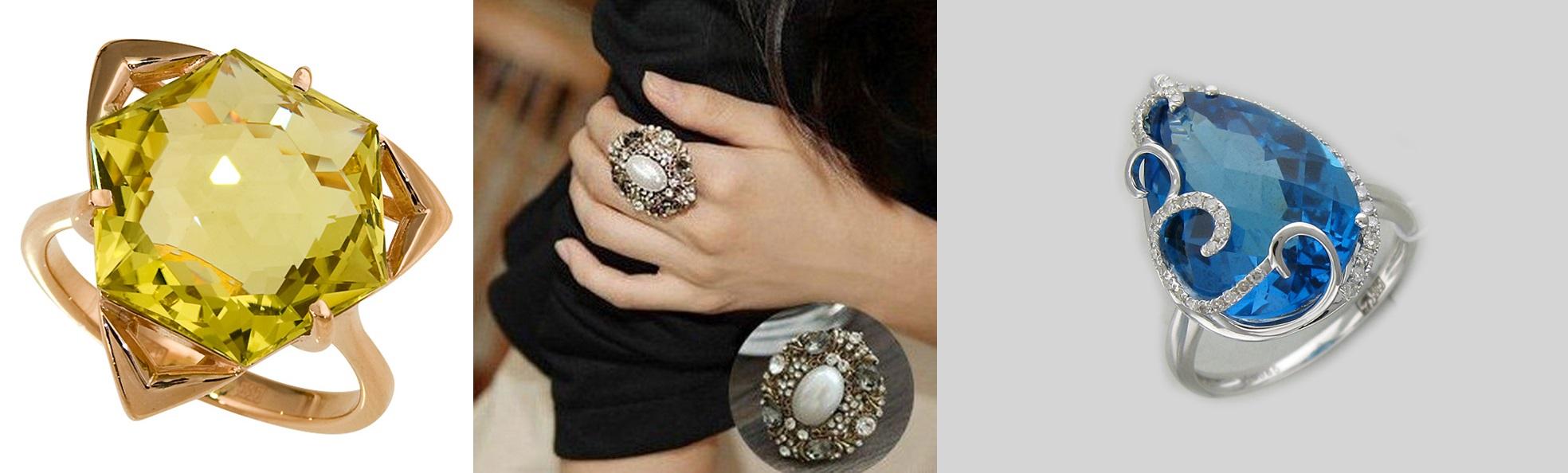кольца с круглыми камнями