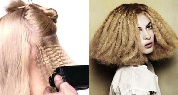 Как сделать гофре на коротких волосах 736