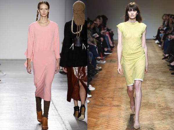 Пыльно-розовые и бледно-желтые платья