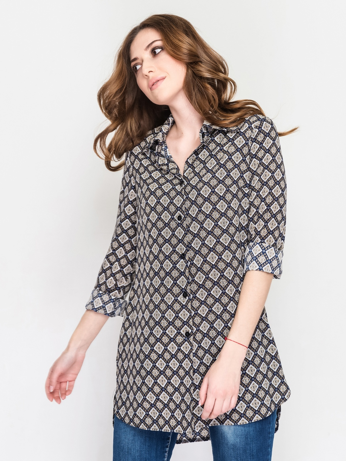 Рубашка-блузка в мелкий рисунок