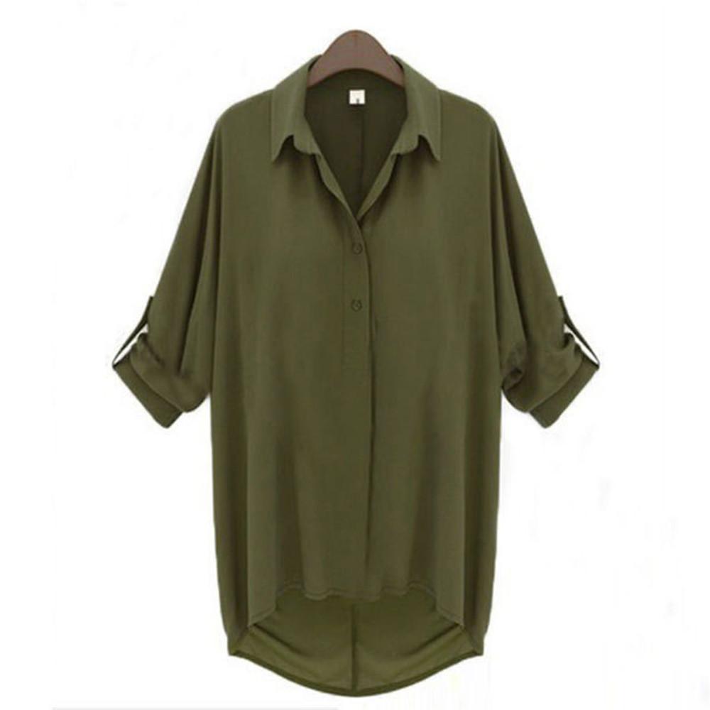 Оливковая рубашка свободного кроя