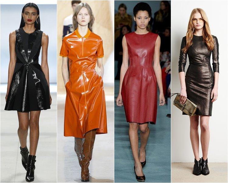 Кожаные коктейльные платья