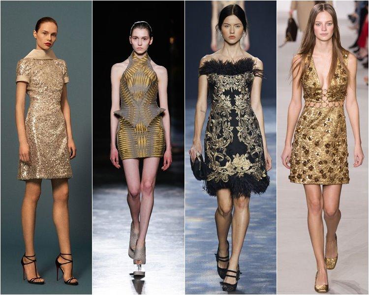 Красивые коктейльные платья золотого цвета
