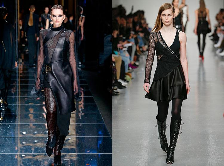 Кожаные платья с прозрачными вставками