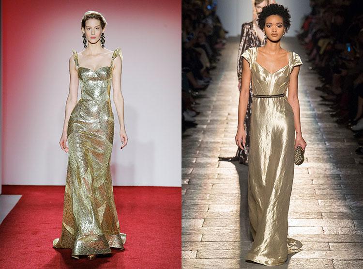 Серебряно-золотой материал для платьев