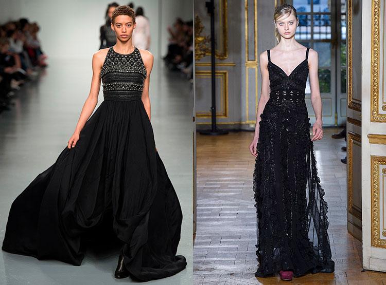 Черные вечерние платья со шлейфом