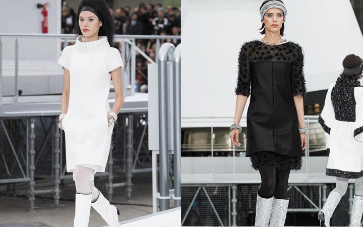 Черное и белое коктейльное платье от Диор