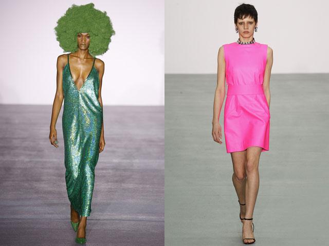 Рзовый и зеленый цвет для платьев