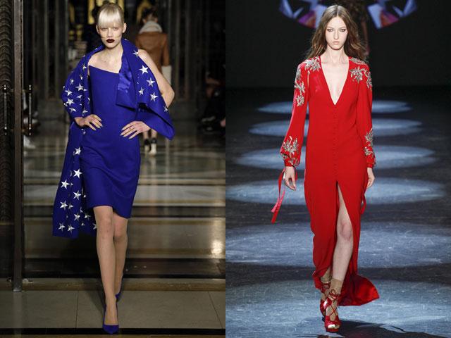 Красное и синее платье для коктейля