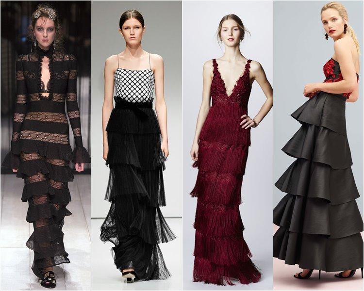 Многоярусные платья для выхода в свет