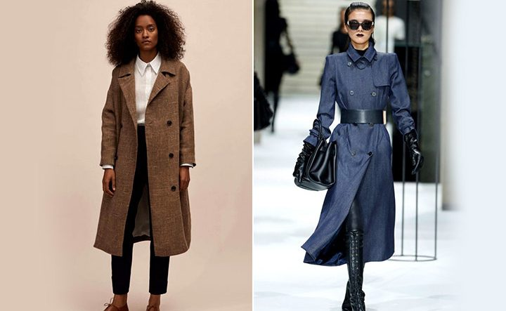 Сиреневое и бежевое пальто