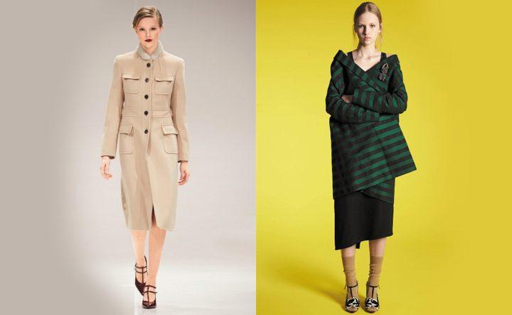 Бежевое и зеленое в полоску пальто