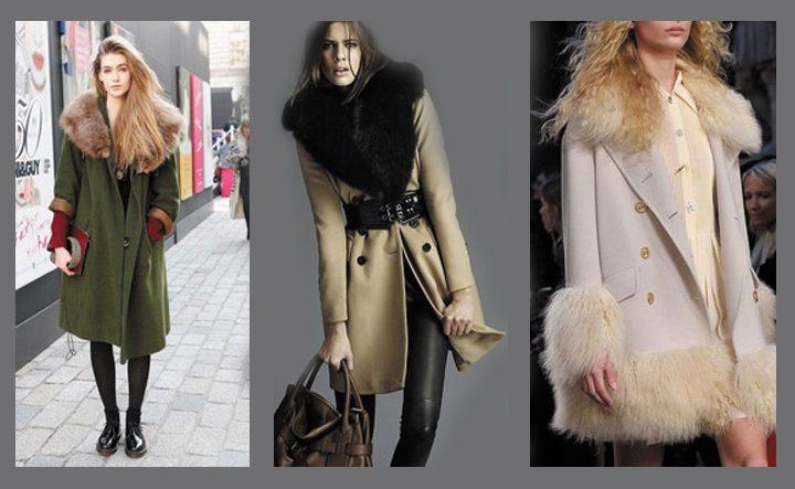 Воротник с мехом на пальто