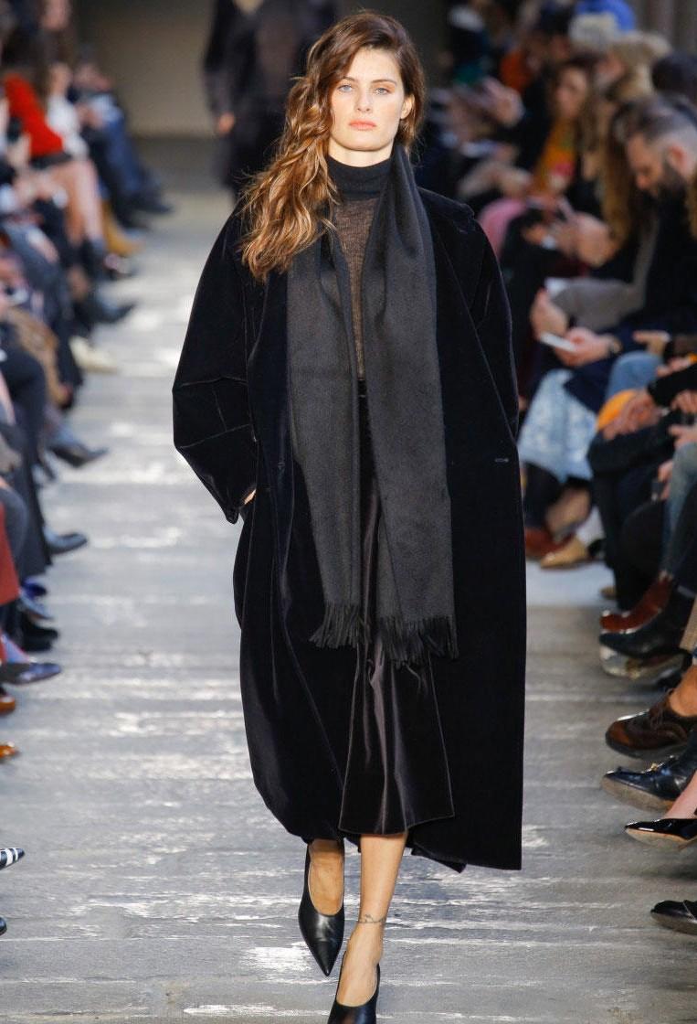 Черное длинное пальто