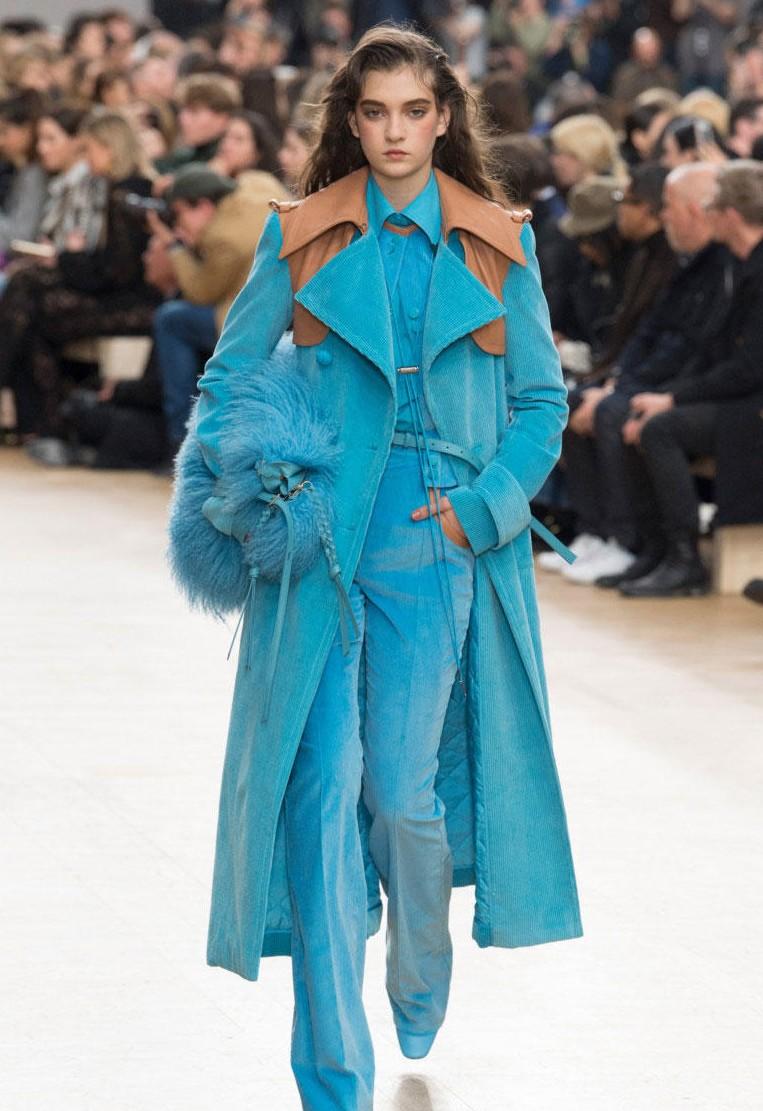 Голубое вельветовое пальто